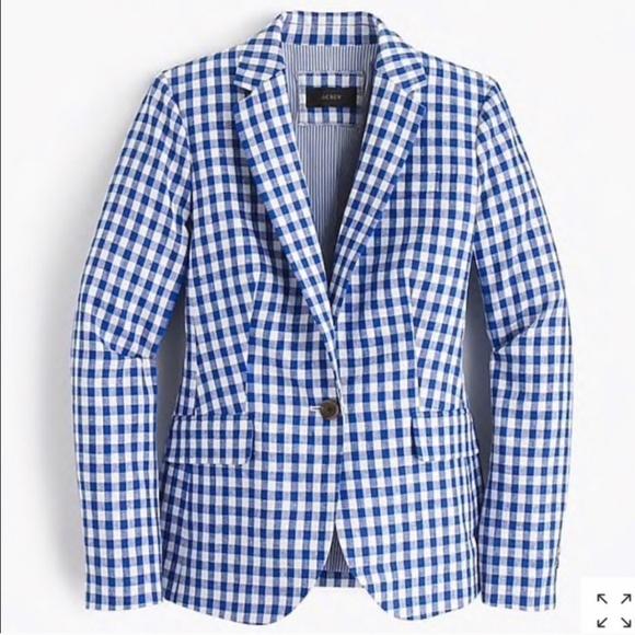J. Crew Jackets & Blazers - J Crew NEW Campbell Blazer white/blue gingham